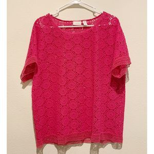 Chico's Hot Pink Crochet Blouse, Size Large